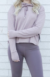 purple cropped sweatshirt
