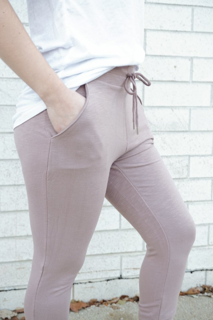 purple highwaisted joggers