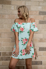 Load image into Gallery viewer, Off the shoulder mint floral dress