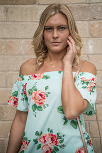 Off the shoulder mint floral dress
