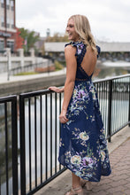 Load image into Gallery viewer, Navy hi-low floral dress