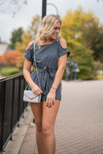 Load image into Gallery viewer, Navy striped romper