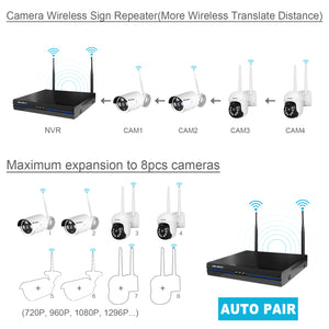 Wireless Security Camera System, GENBOLT Outdoor 1080P Home WiFi Security Surveillance Camera System, 8 Channels Full HD 1080P Video Record NVR with 4pcs 1080P Waterproof Onvif IP Network Cameras,Auto Pair,NO Hard Drive(2020)