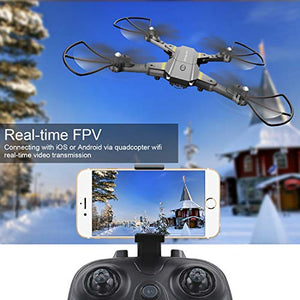 FALCORC Foldable Mini RC Drone with 720P WiFi Camera 2.4Ghz 6-Axis Gyro 2.4G Drone Selfie Quadcopter Remote Control Helicopter Gifts for Kids & Beginners
