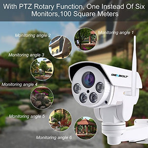 [5X ZOOM] Floodlight PTZ WiFi Security Camera Outdoor,GENBOLT 5MP AI Auto Tracking Dome Camera,5X Optical Auto Focus IP Camera with Color Night Vision,Wireless Surveillance System with Humanoid Motion Detection, Pan Tilt 2-Way Audio,Instant Image Activity