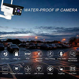 [Human Tracking] Floodlight WiFi Security Camera Outdoor - GENBOLT AI Automatic Tracking Pan Tilt Wireless Home Surveillance Bullet IP Camera 1080P,AI Humanoid Alarm,Active Siren with Lighting Defense,Customizable Motion Detection,Instant Image Activity A