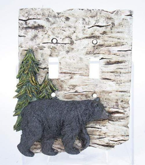 Rustic Bear Double Switch Plate