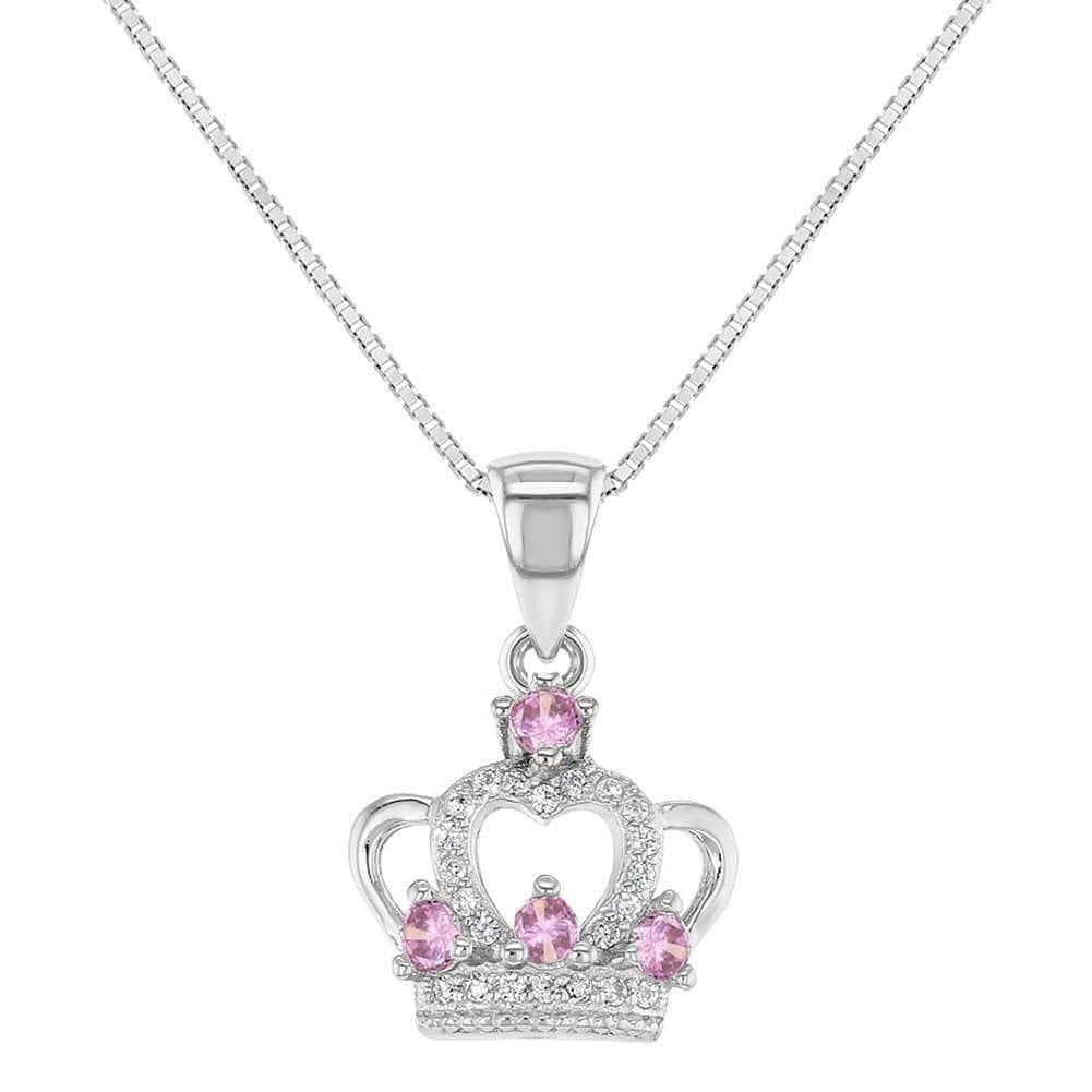 Sterling Silver Princess Crown Necklace