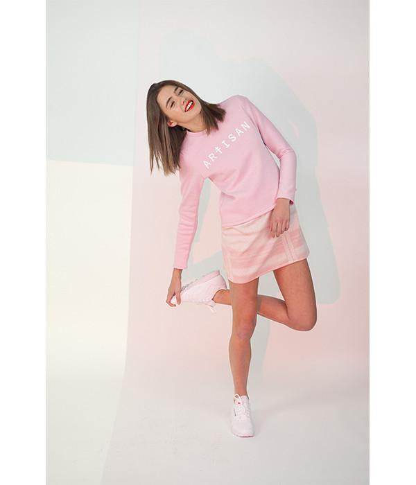 Sweat rose pastel manches longues molleton
