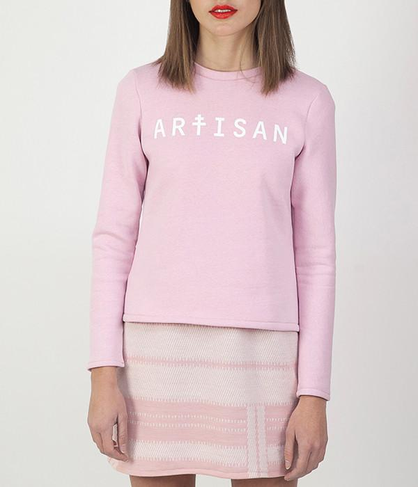 Sweat artisan manches longues rose pastel sérigraphie blanche