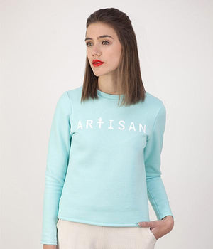 Sweat artisan vert clair manches longues