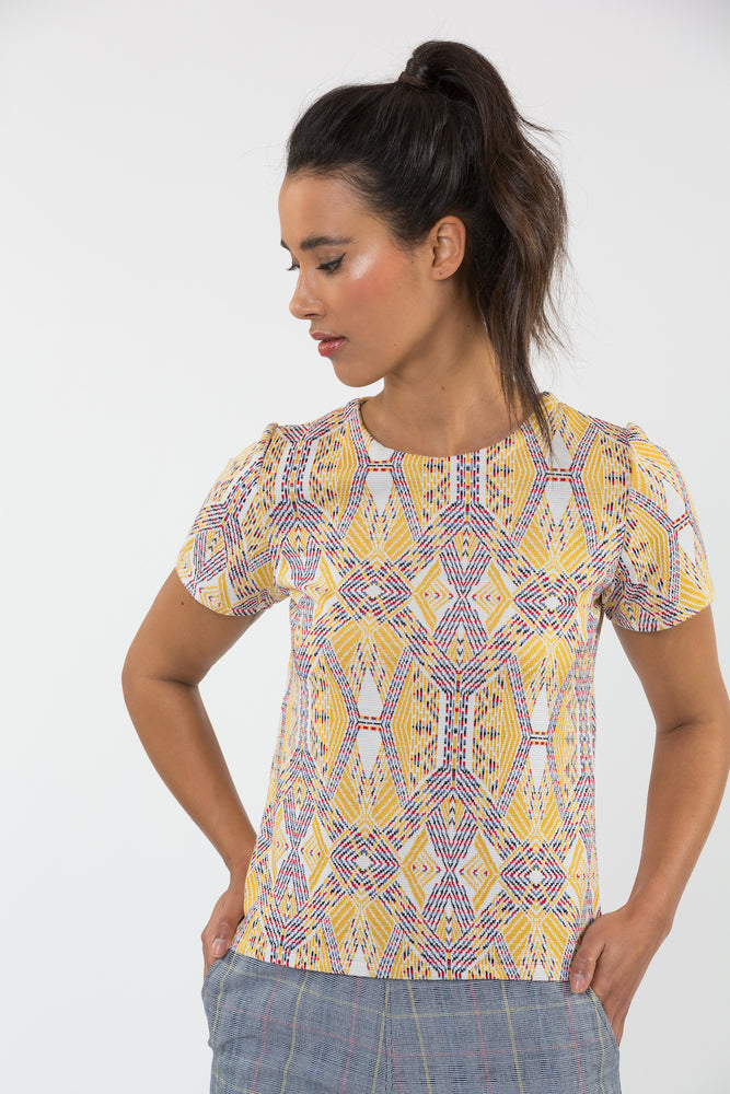 Top maille jacquard coupe t-shirt fabriqué en France Carrousel