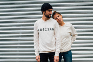Sweat Artisan unisexe bio naturel print noir