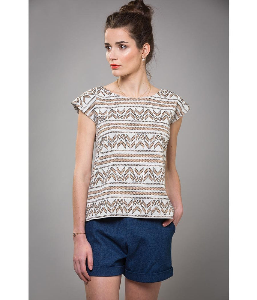 Top maille jacquard et short denim