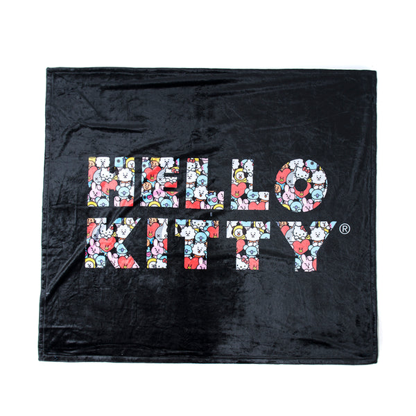 Puzzled Black Throw Blanket
