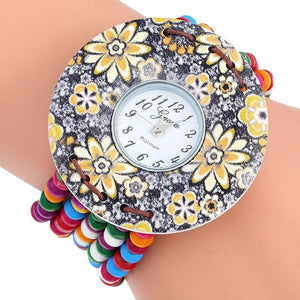 Platinum Wood Flowers Bracelet Watch