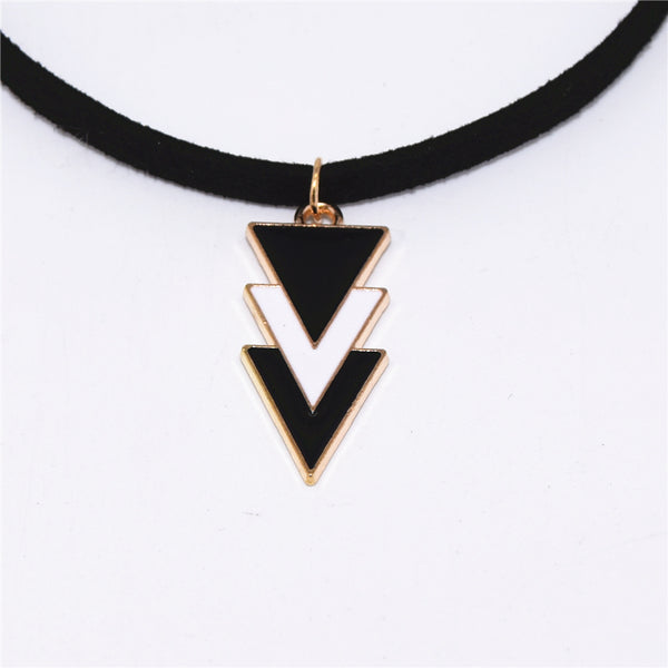 The Three Velvet Triangles Chokers (Leather)