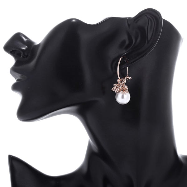 Rose Gold Crystal Cherry Flower Drop Earrings