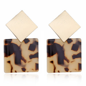 Vintage Acrylic Leopard Geometric Earrings