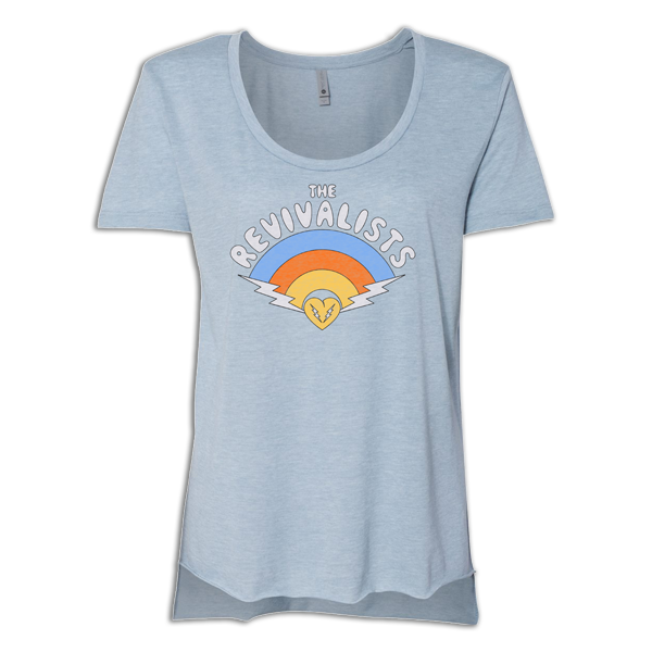 Ladies Heather Blue Rainbow Tee
