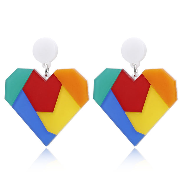 Colorful Heart Studs