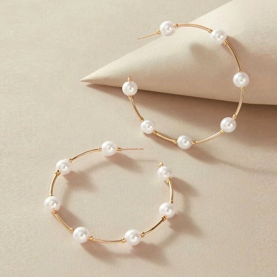 Gold & Pearl Hoop Earrings