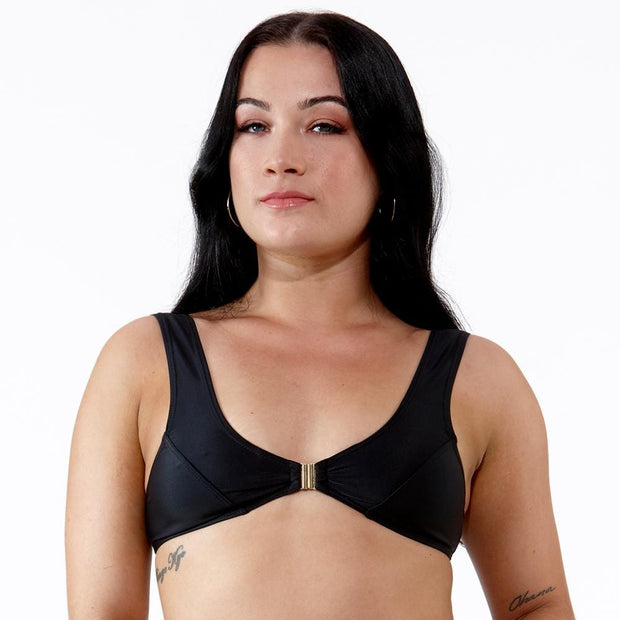 Emrld- Mariah Bikini Top with clasp front opening in black