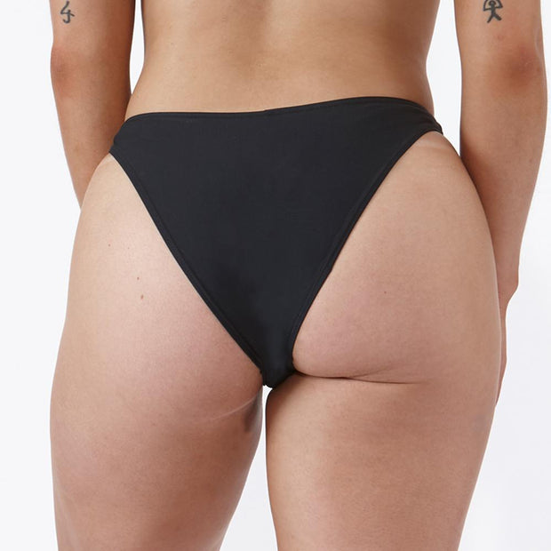 Emrld - St tropez, black high leg bikini bottoms