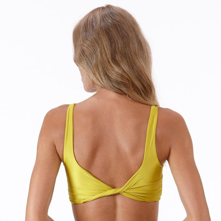 Emrld - St tropez - twist front bikini top in Chartreuse - back