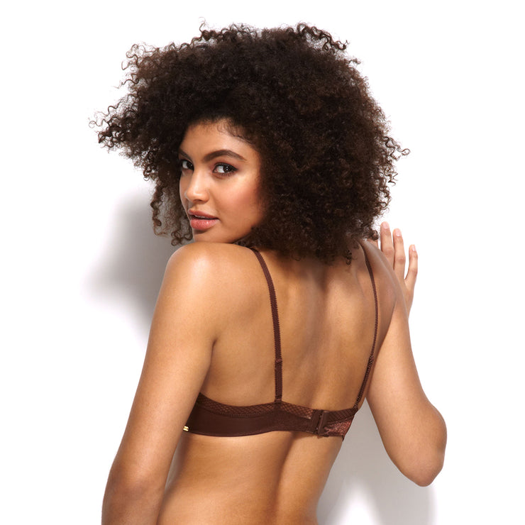 Gossard Glossies Sheer Bra - back - rich brown