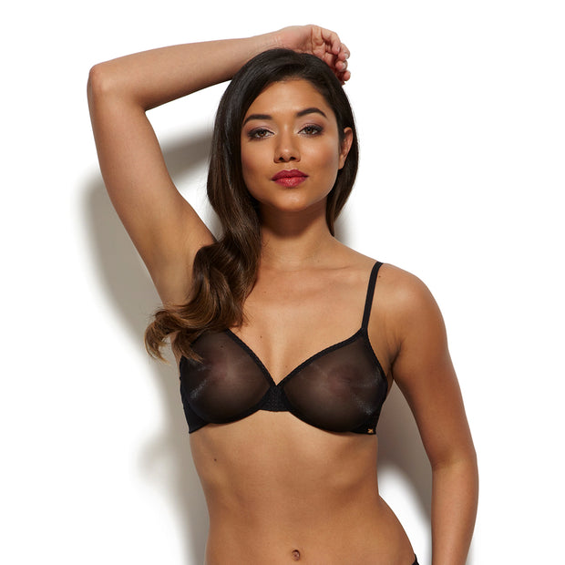 Gossard Glossies Sheer Bra - front in black sheer