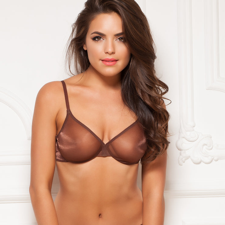 Gossard Glossies Sheer Bra - rich brown