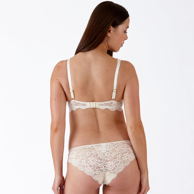 LULU Stretch Lace Underwired Bra - Milk Tea Set Back View