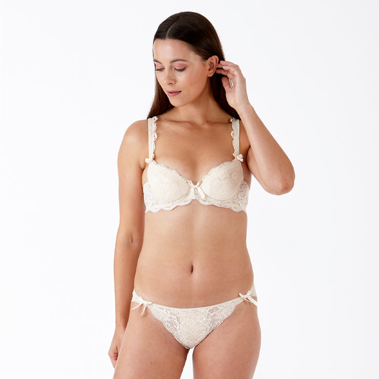 LULU Stretch Lace Underwired Bra - Milk Tea Set