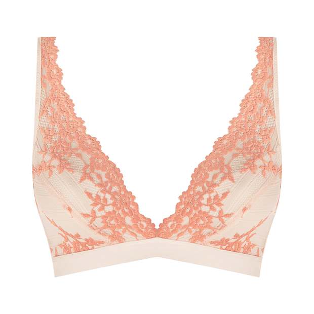 Wacoal Embrace Lace Soft Cup Bra in coral and white