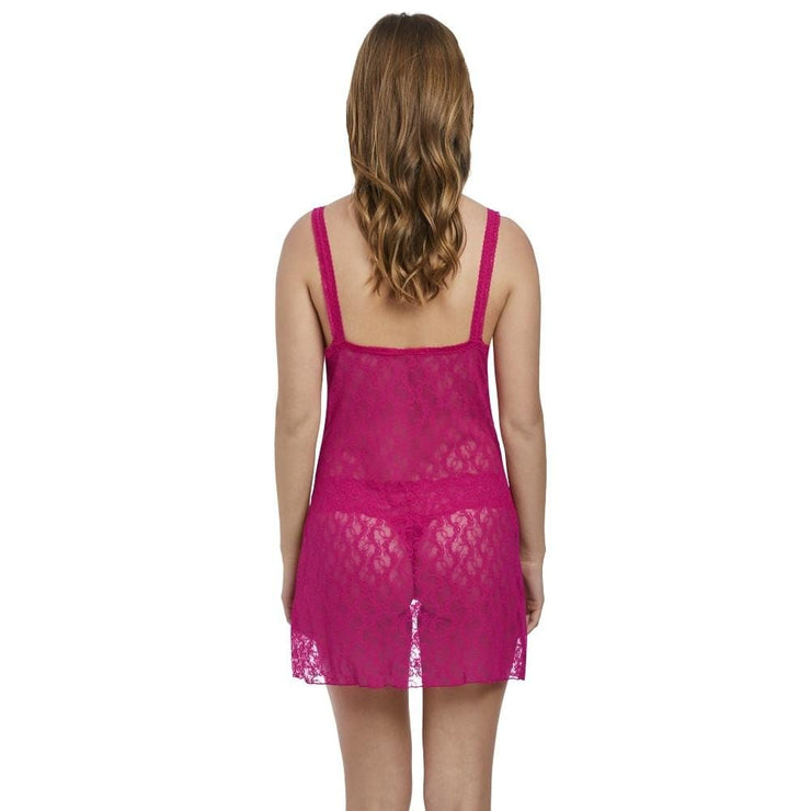 B.Tempt'd Lace Kiss Chemise - Pink Peacock Back