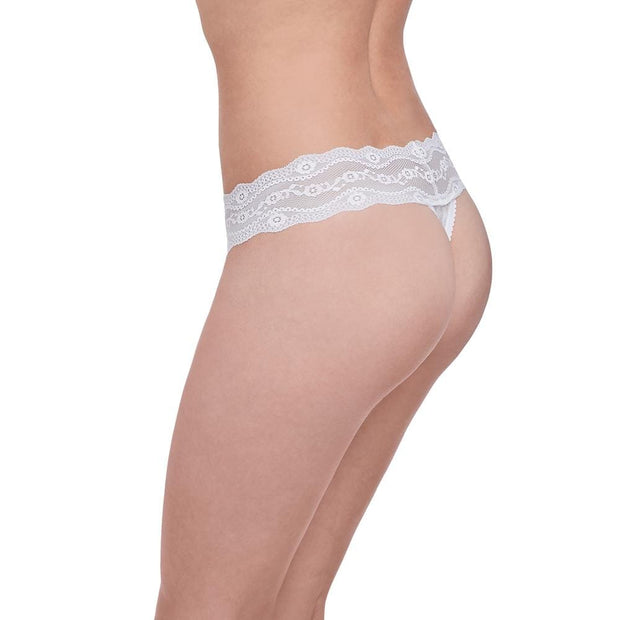 B.Tempt'd Lace Kiss Thong - White