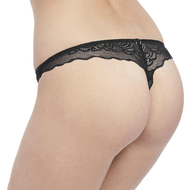 Undisclosed Lace Thong Black