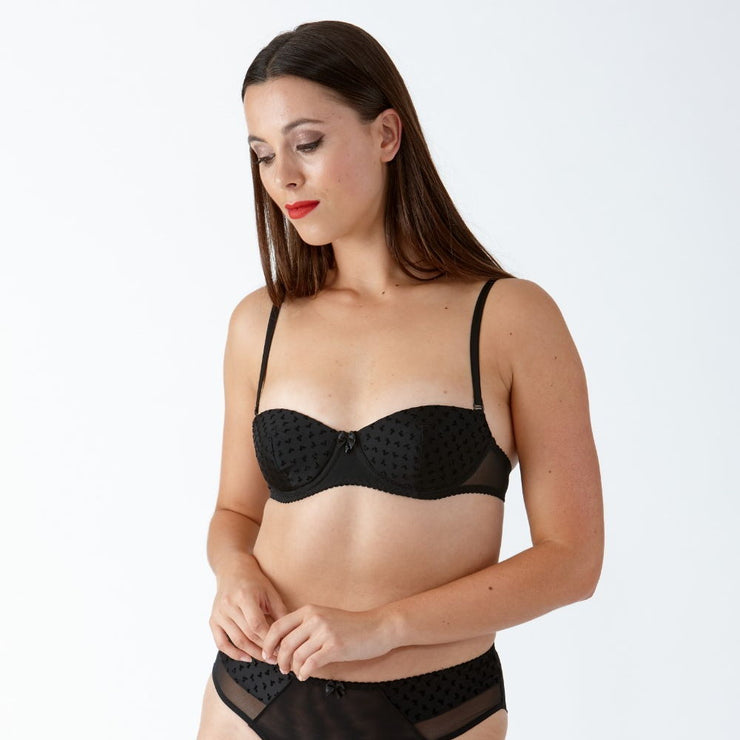 Little Women COCO Bow Flock Pattern Underwired Multiway Balconette Bra - Ideal Petite Lingerie