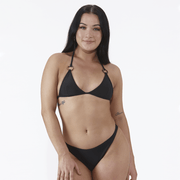 Emrld - The Miami Bikini top in black. Tortoiseshell ring bikini for AAA, AA & A cups