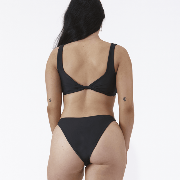 Emrld - St tropez - twist worn at back bikini top in Black - back