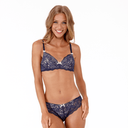Gigi Bra navy lace non-wired small cup bra by Little Women back