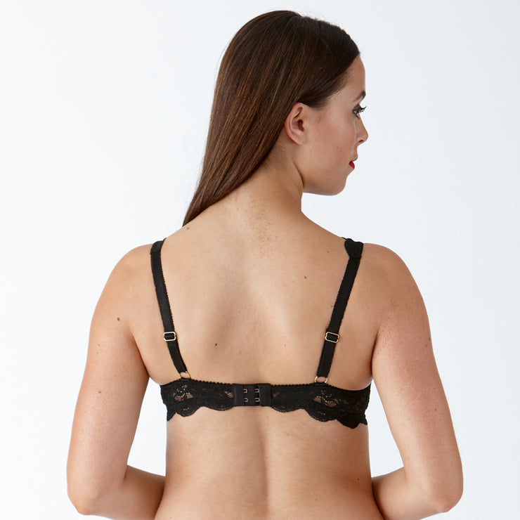 Lulu Stretch Lace Underwired Bra  - black -back