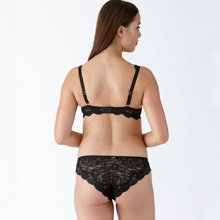 LULU Stretch Lace Underwired Bra - Black Set Back View