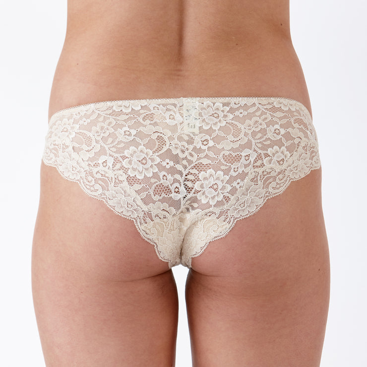 LULU Stretch Lace Brief Milk Tea - Back View