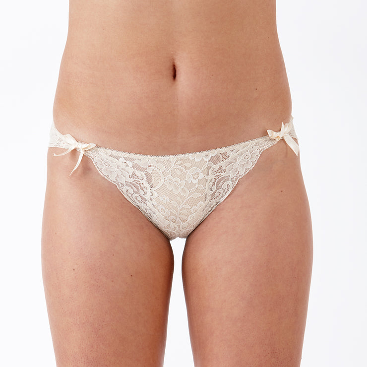LULU Stretch Lace Brief Milk Tea - Beautiful Small Lingerie From The Specialists