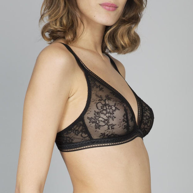 Miss Lejaby Triangle Bra Black - side view