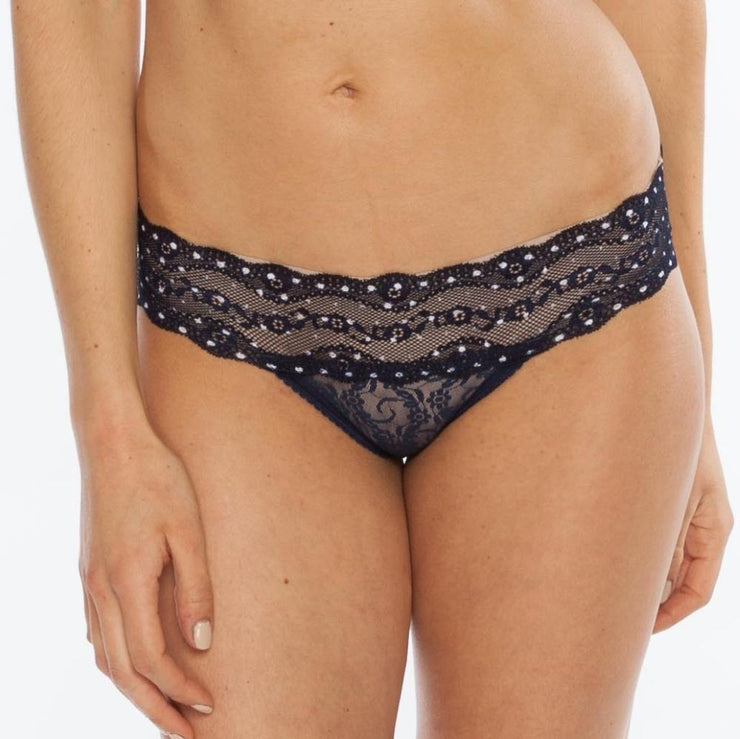 B.Tempt'd Lace Kiss Bikini Brief - Peacoat Polka Dot