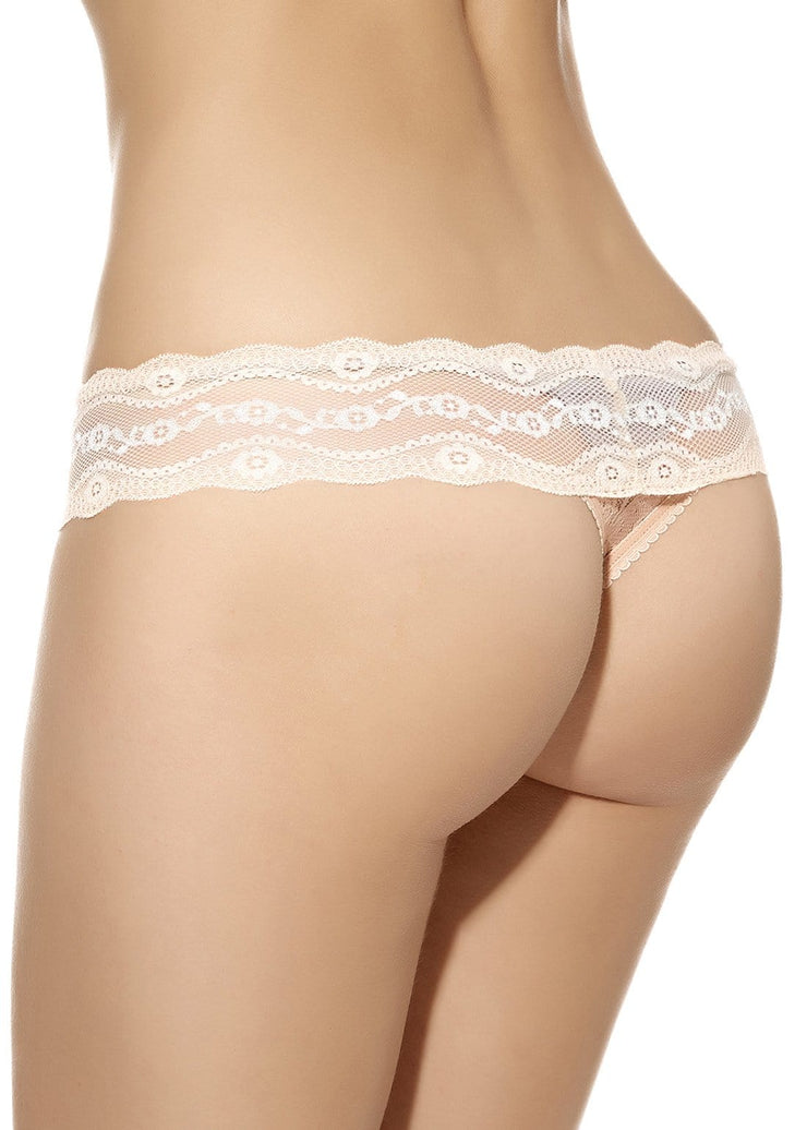B.Tempt'd Lace Kiss Thong - Mother of Pearl
