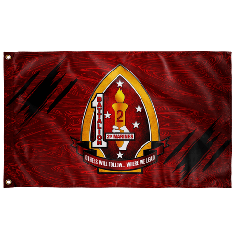 "1st Battalion 2nd Marines Red Flag Elite Flags Wall Flag - 36""x60"""